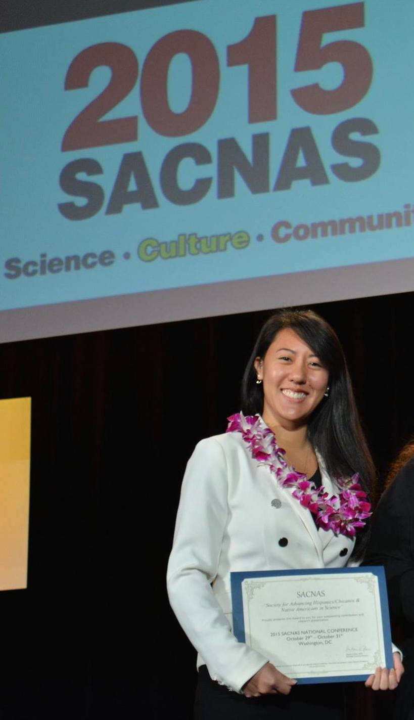 Kimberly Kahaleua wins first place at the 2015 SACNAS conference. (Photo Courtesy of STEM program)