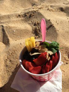 Strawberry sorbet disguised as Açaí bowl. Good for what it is.