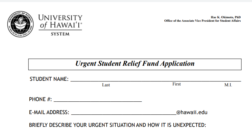 UH Announces Student Relief Fund