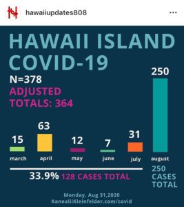 Infographic about Hawai'i Island COVID-19 cases.